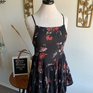 Free People Black Floral Tiered Ruffle Dress
